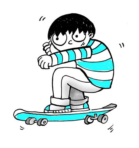 男孩拿滑板头像