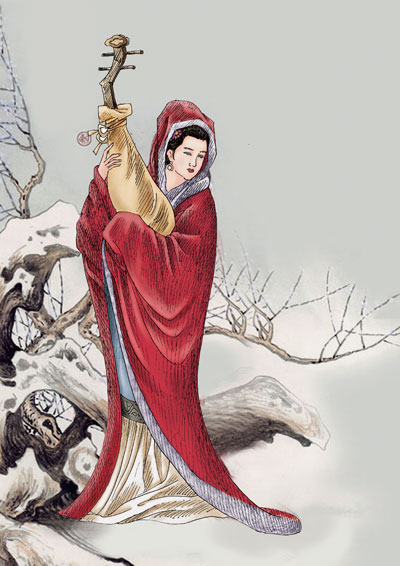 古代女子读书卡通画