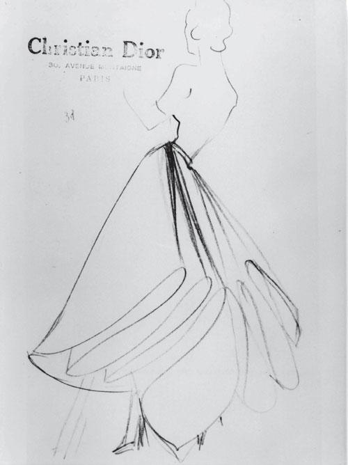 dior礼服设计图手绘展示